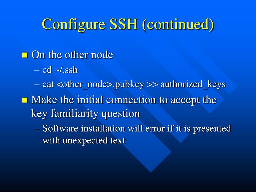Configure SSH (continued)