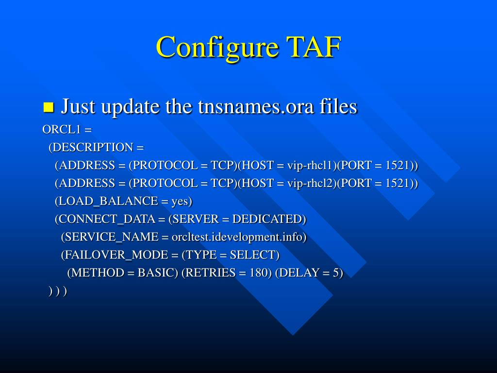 Configure TAF