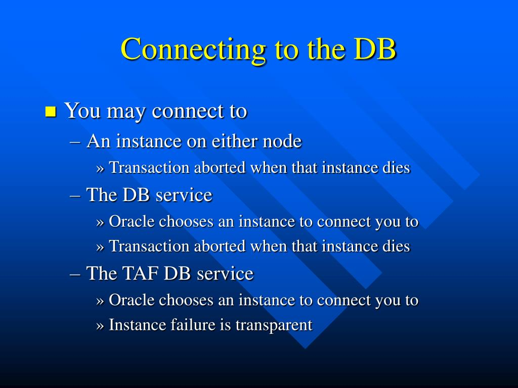 Connecting to the DB