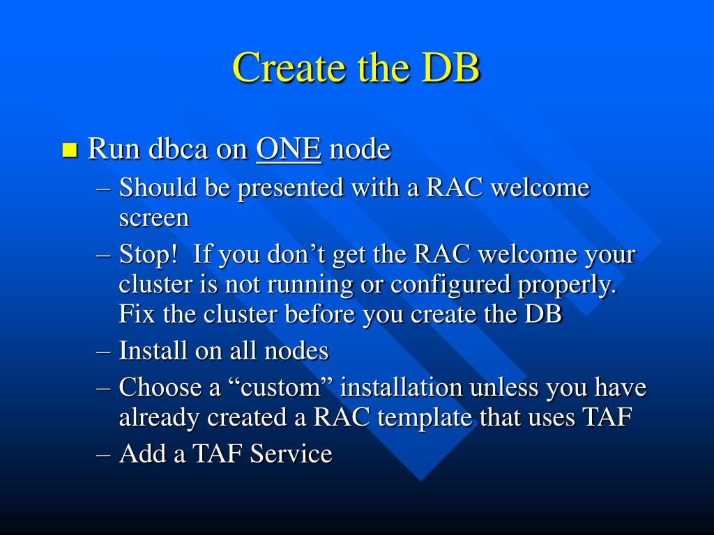 Create the DB