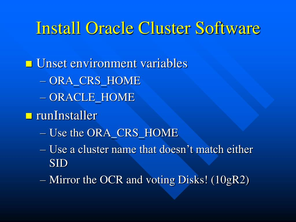Install Oracle Cluster Software