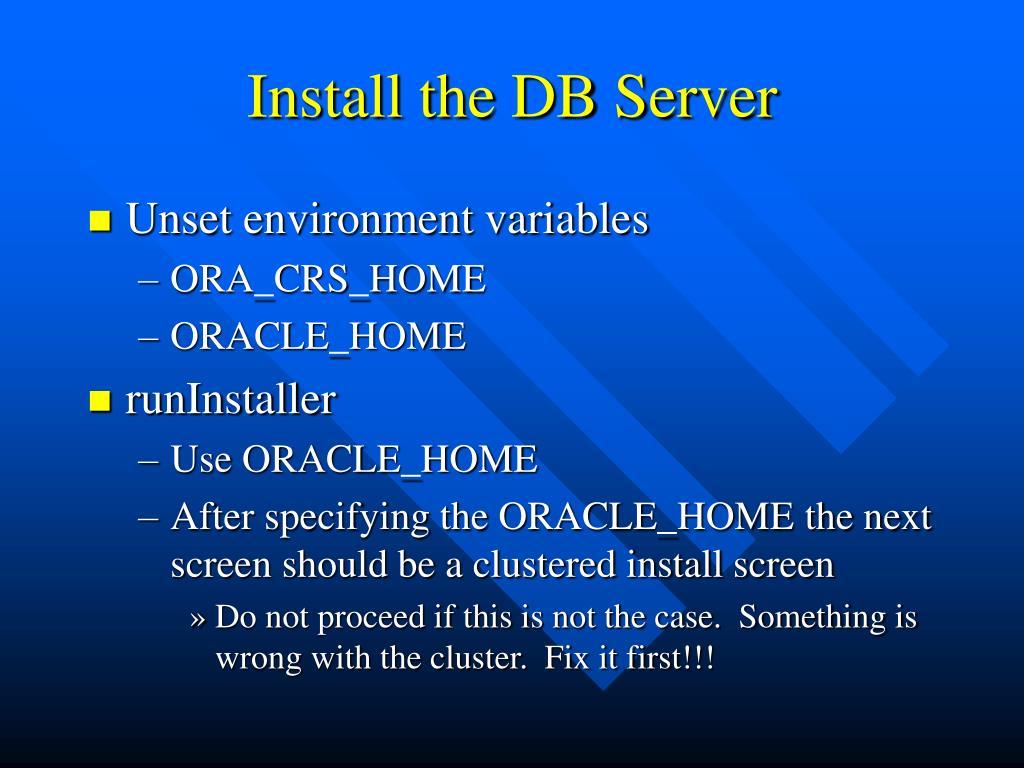 Install the DB Server