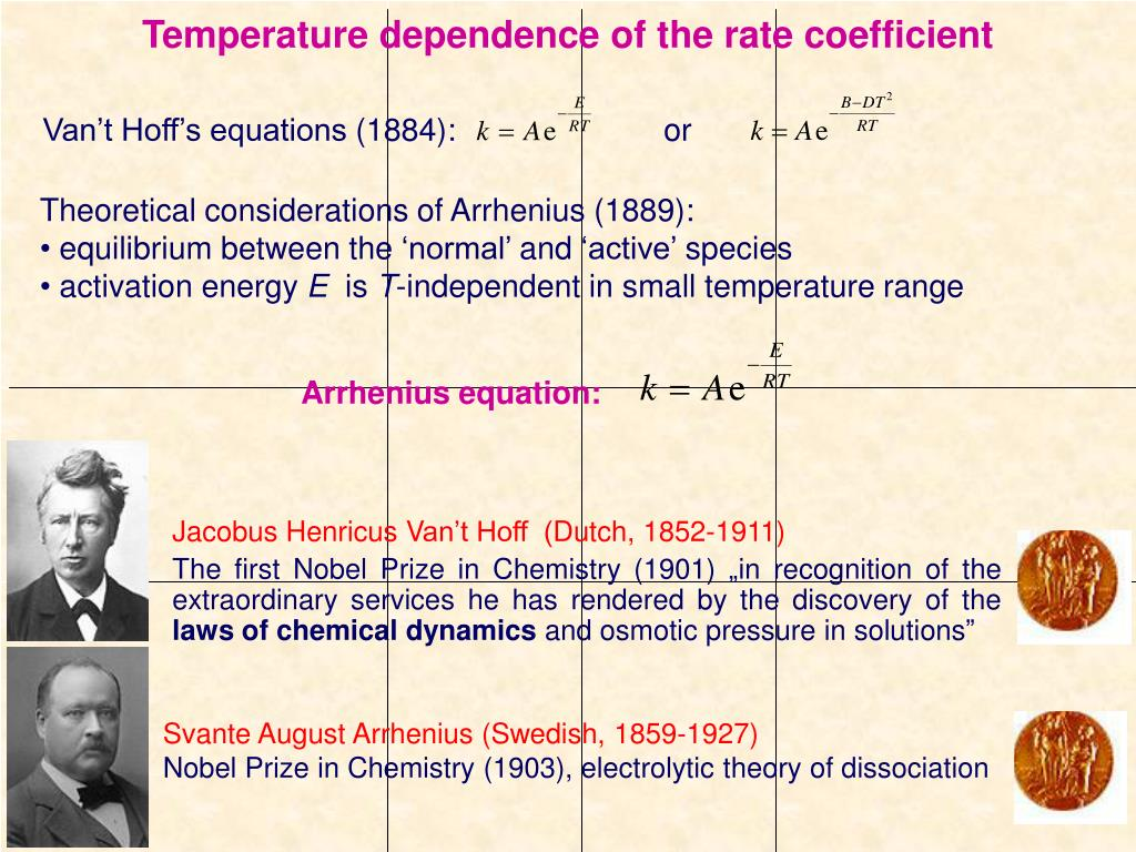 Temperature dependence of the rate coefficient