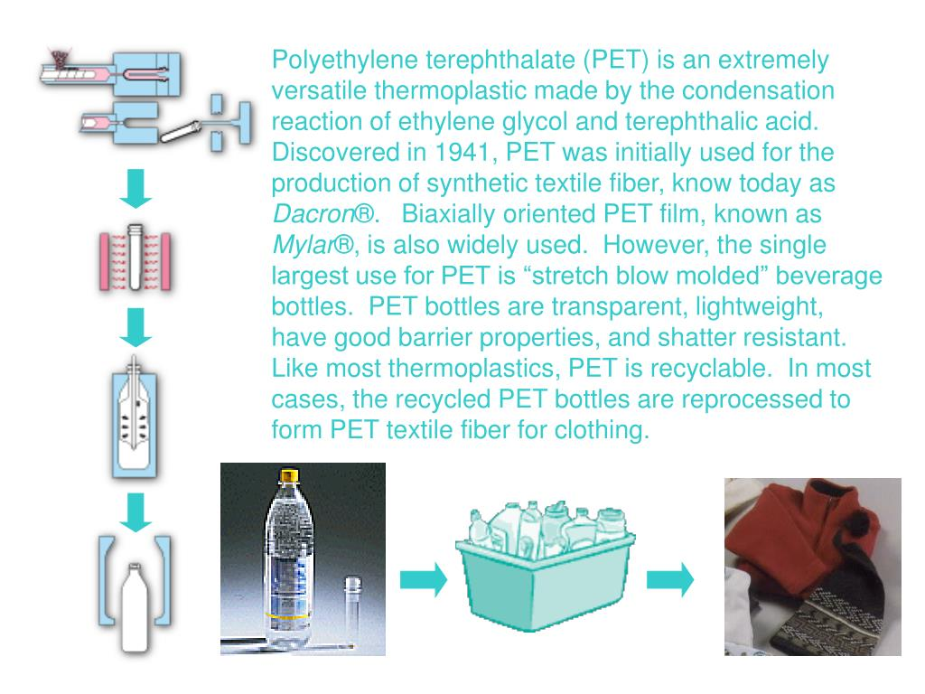 Polyethylene terephthalate (PET) is an extremely versatile thermoplastic made by the condensation reaction of ethylene glycol and terephthalic acid.  Discovered in 1941, PET was initially used for the production of synthetic textile fiber, know today as