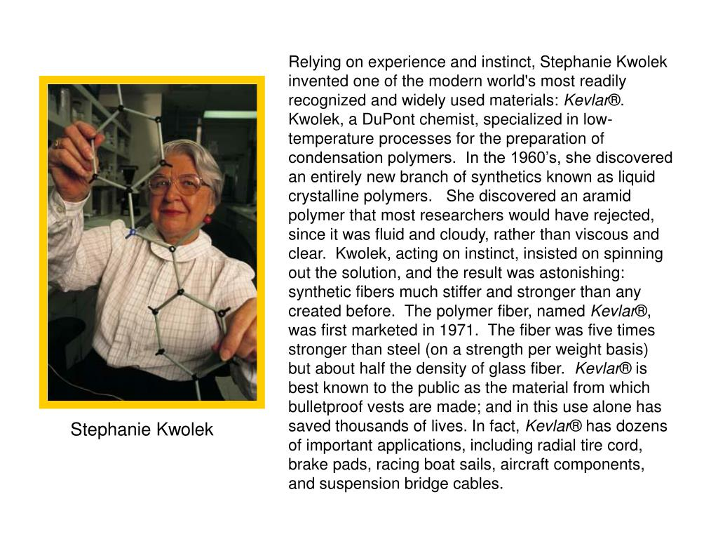 Relying on experience and instinct, Stephanie Kwolek invented one of the modern world's most readily recognized and widely used materials: