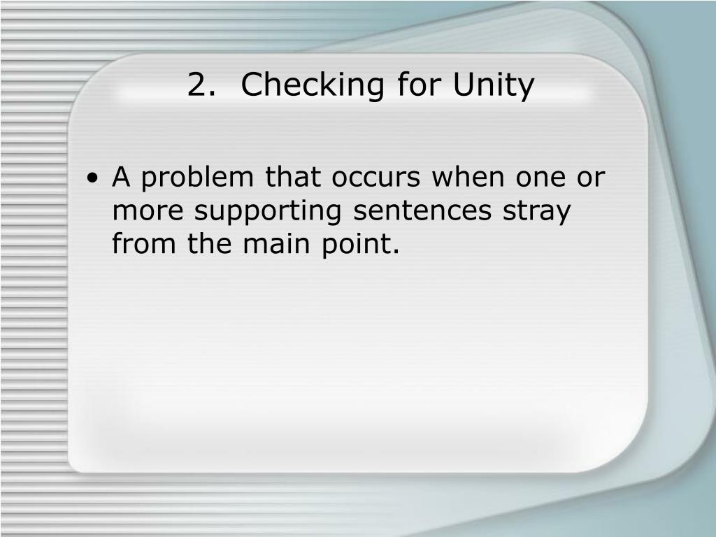 2.  Checking for Unity
