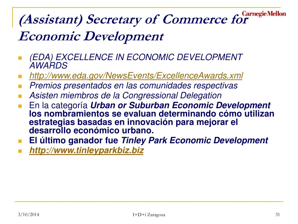 (Assistant) Secretary of Commerce for Economic Development