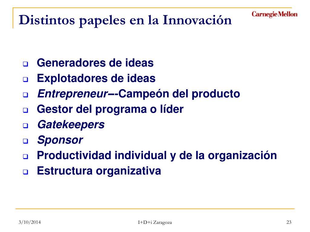 Distintos papeles en la Innovación