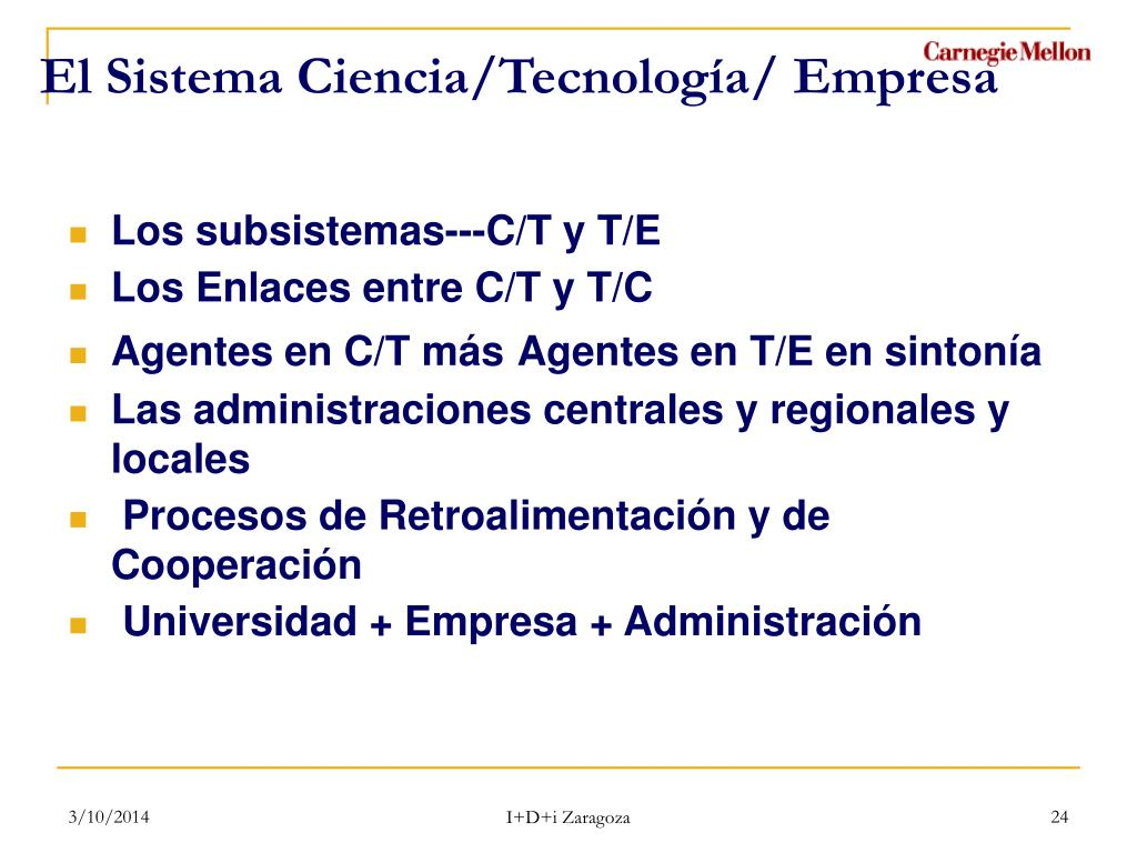 El Sistema Ciencia/Tecnología/ Empresa