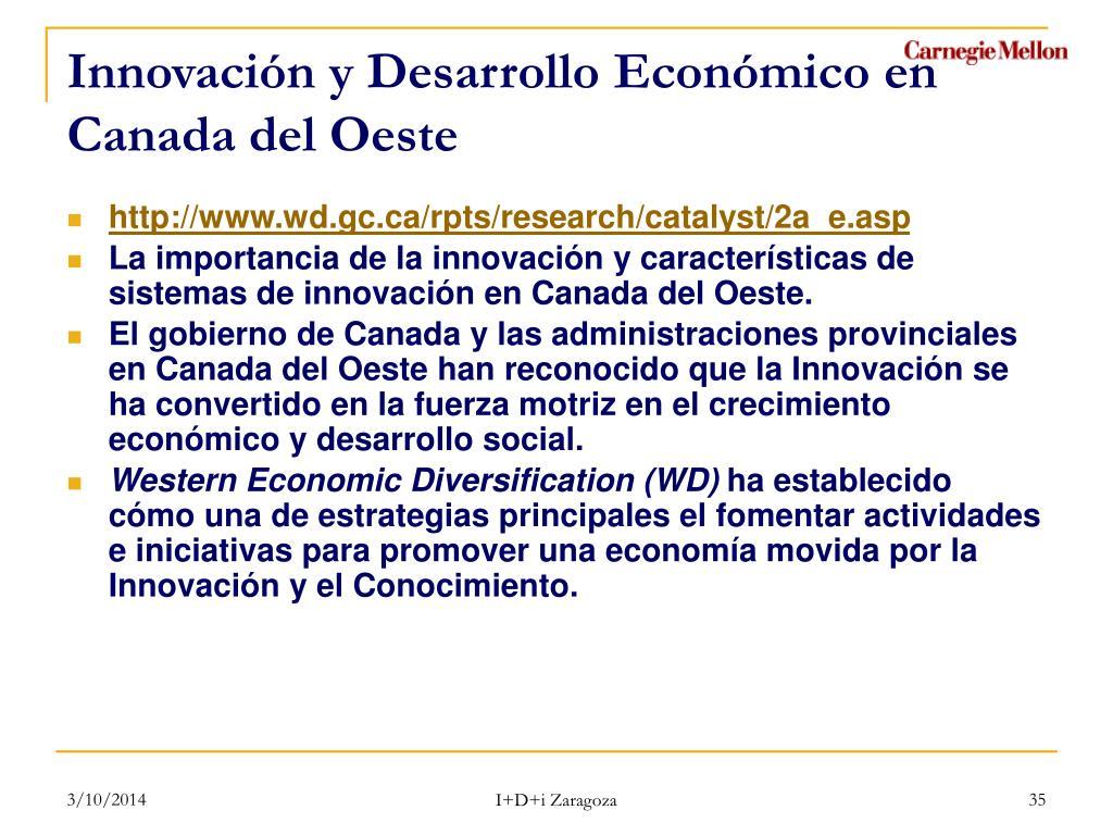 Innovación y Desarrollo Económico en Canada del Oeste