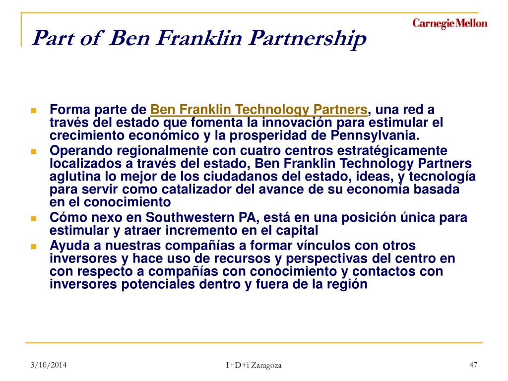 Part of Ben Franklin Partnership
