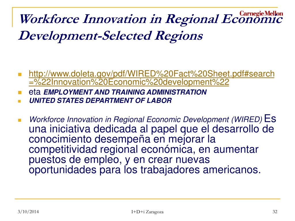 Workforce Innovation in Regional Economic Development-Selected Regions