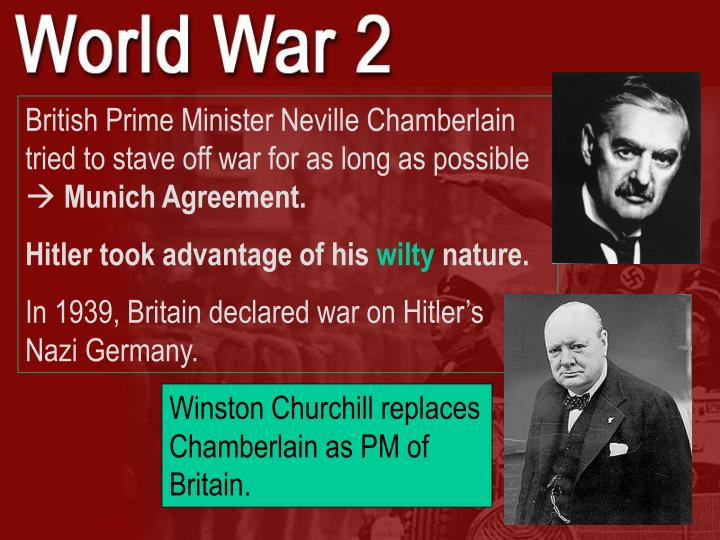 British Prime Minister Neville Chamberlain tried to stave off war for as long as possible