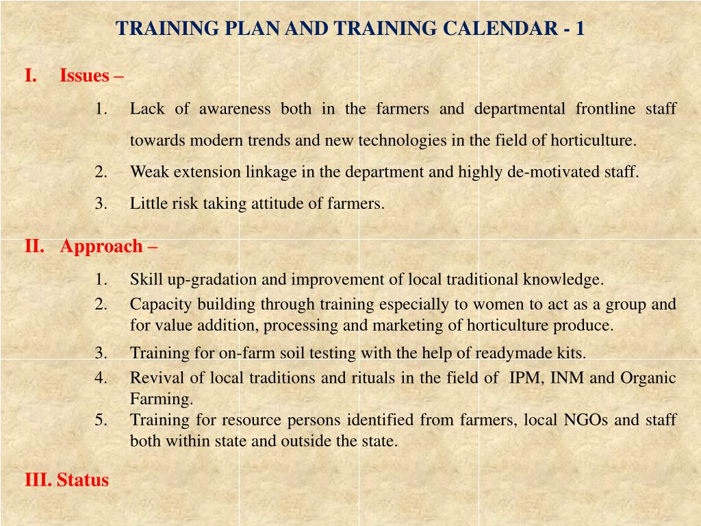 TRAINING PLAN AND TRAINING CALENDAR - 1