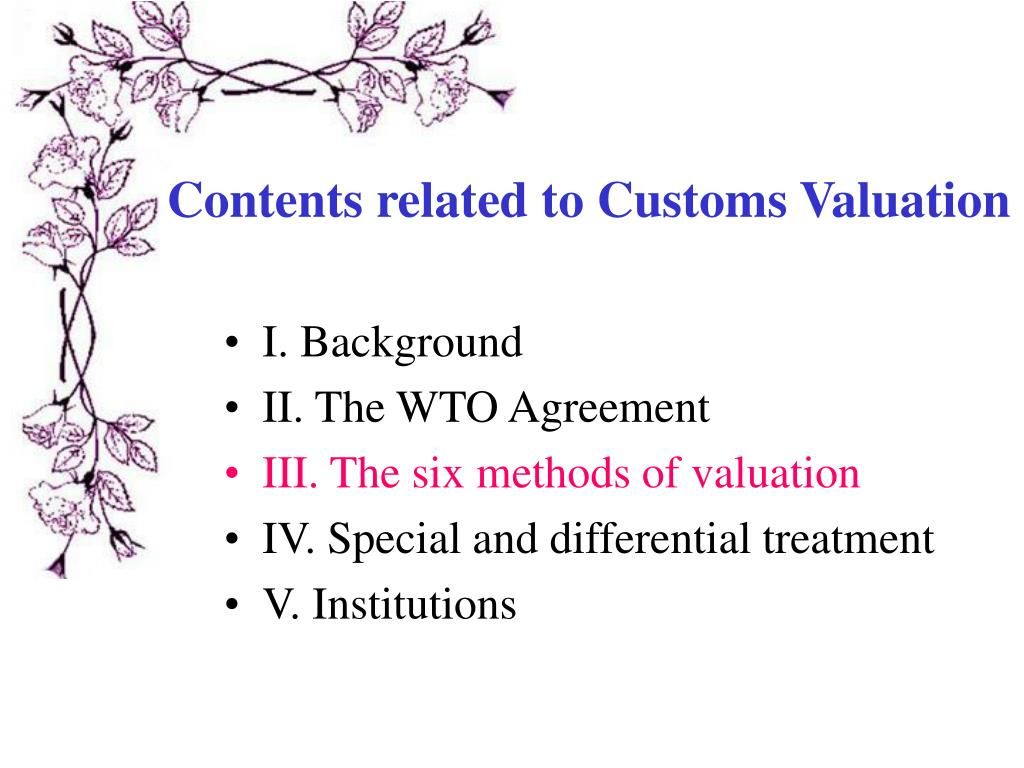 Contents related to Customs Valuation