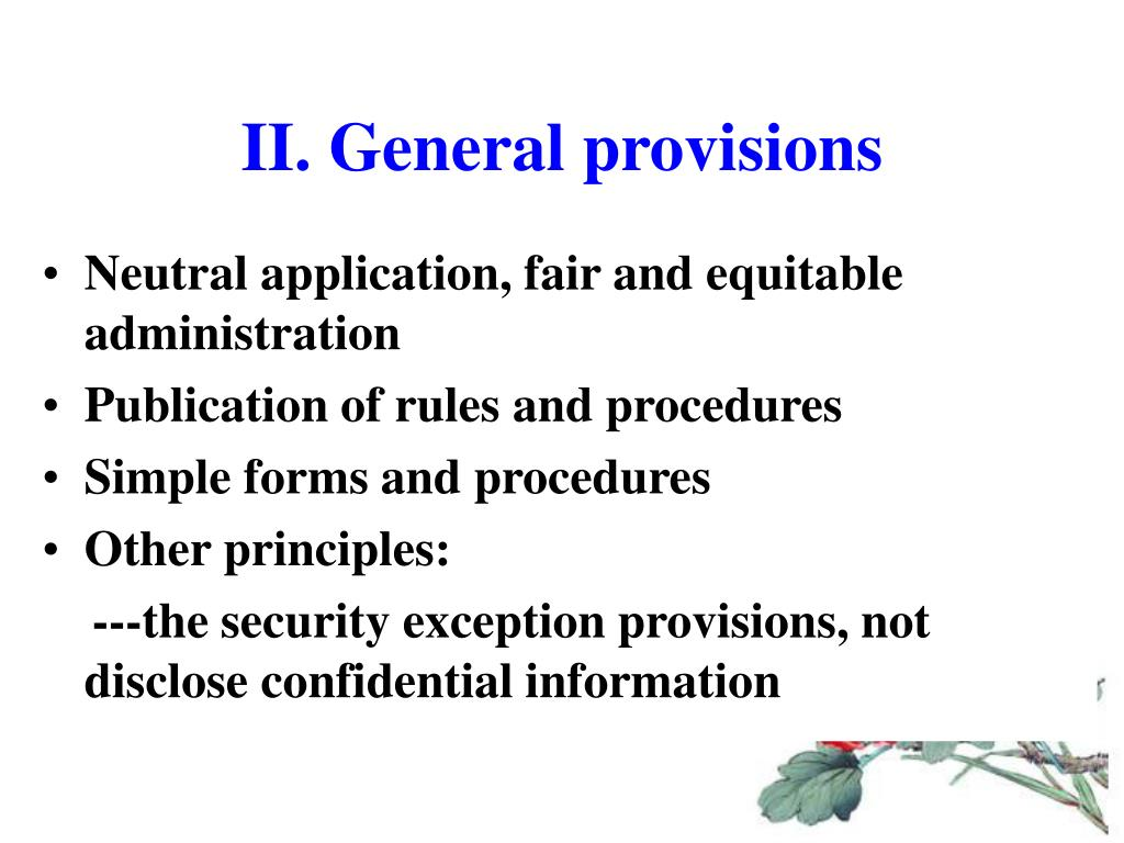 II. General provisions