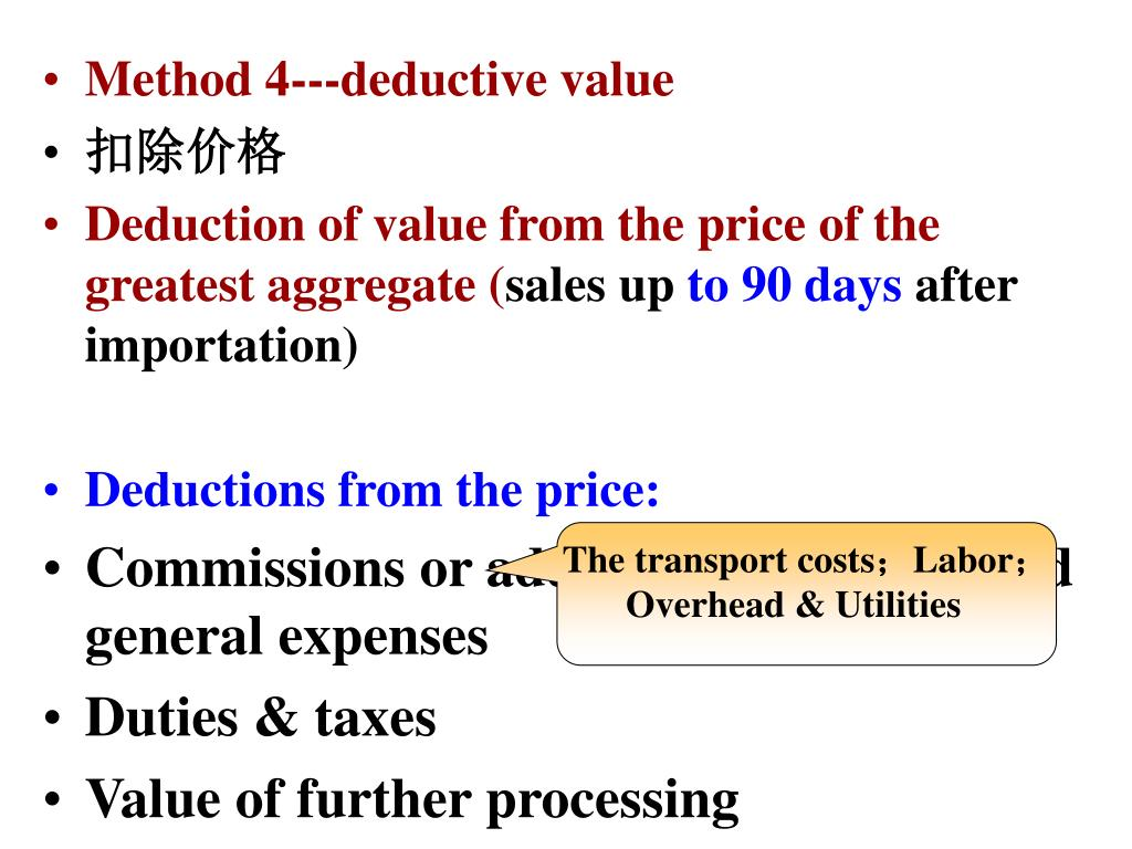 Method 4---deductive value