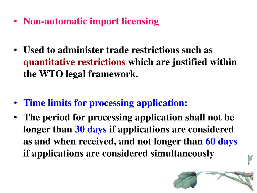 Non-automatic import licensing