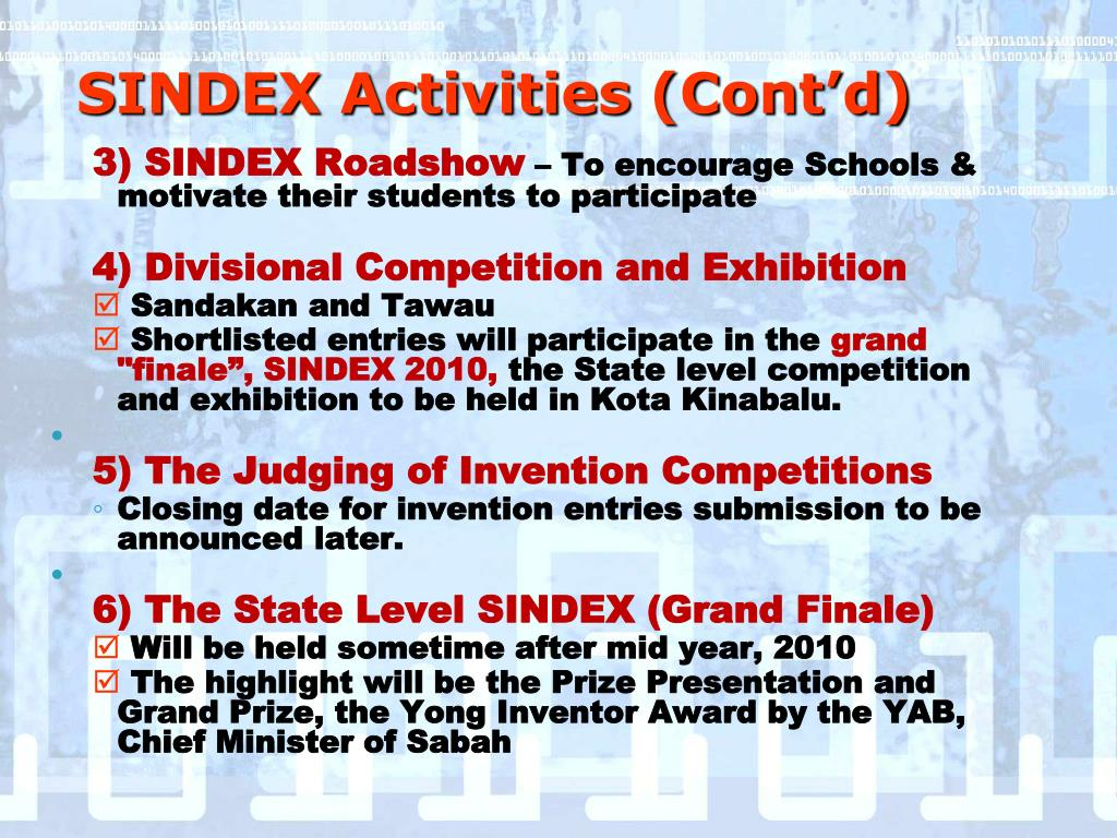 SINDEX Activities (Cont'd)