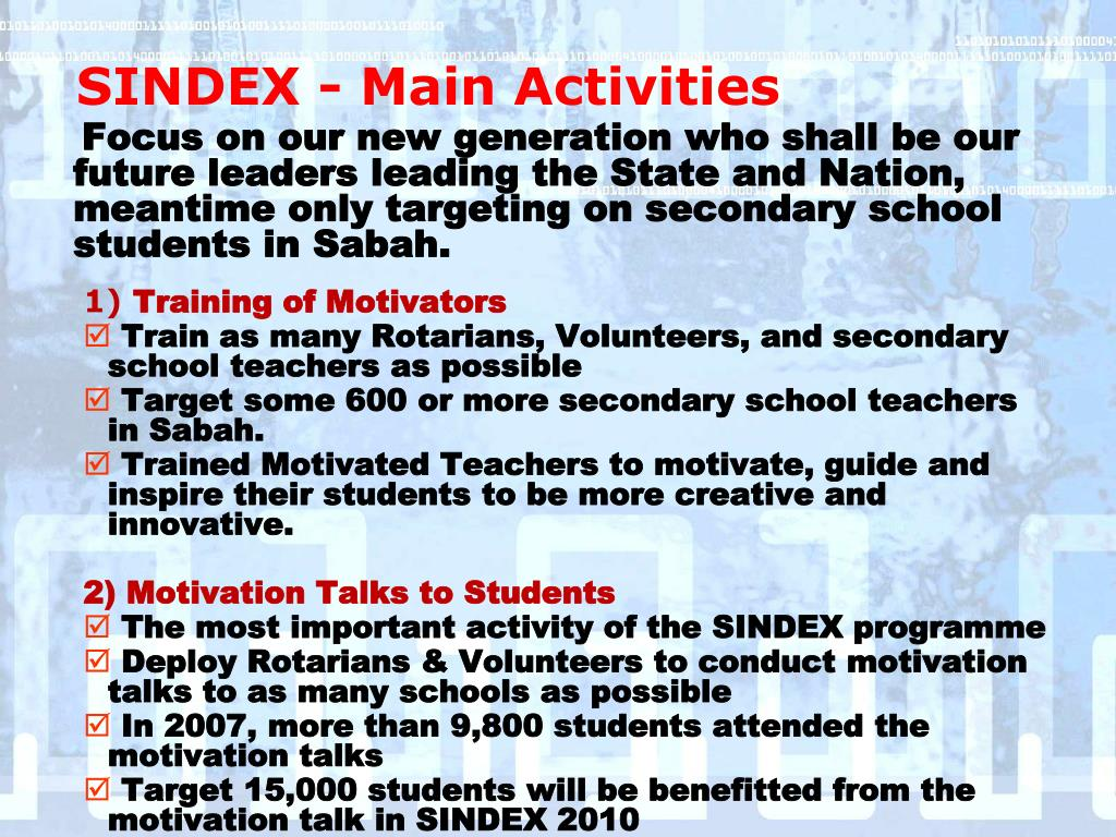 SINDEX - Main Activities