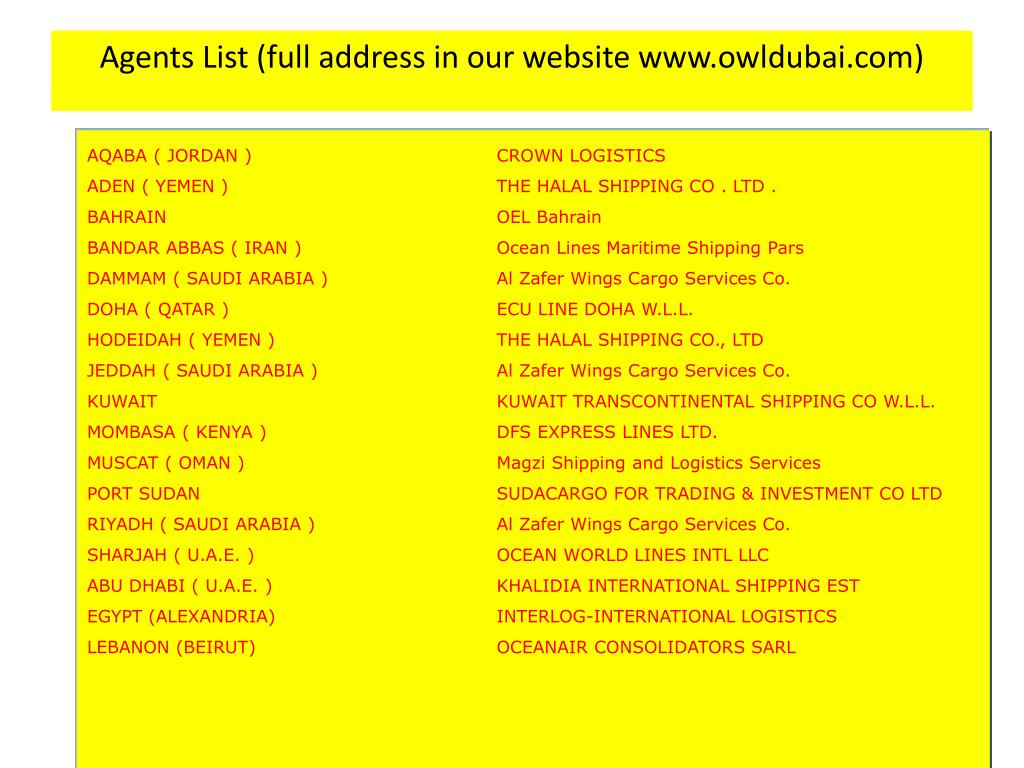 Agents List (full address in our website www.owldubai.com)