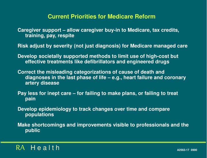Current Priorities for Medicare Reform