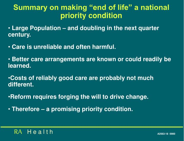 "Summary on making ""end of life"" a national priority condition"