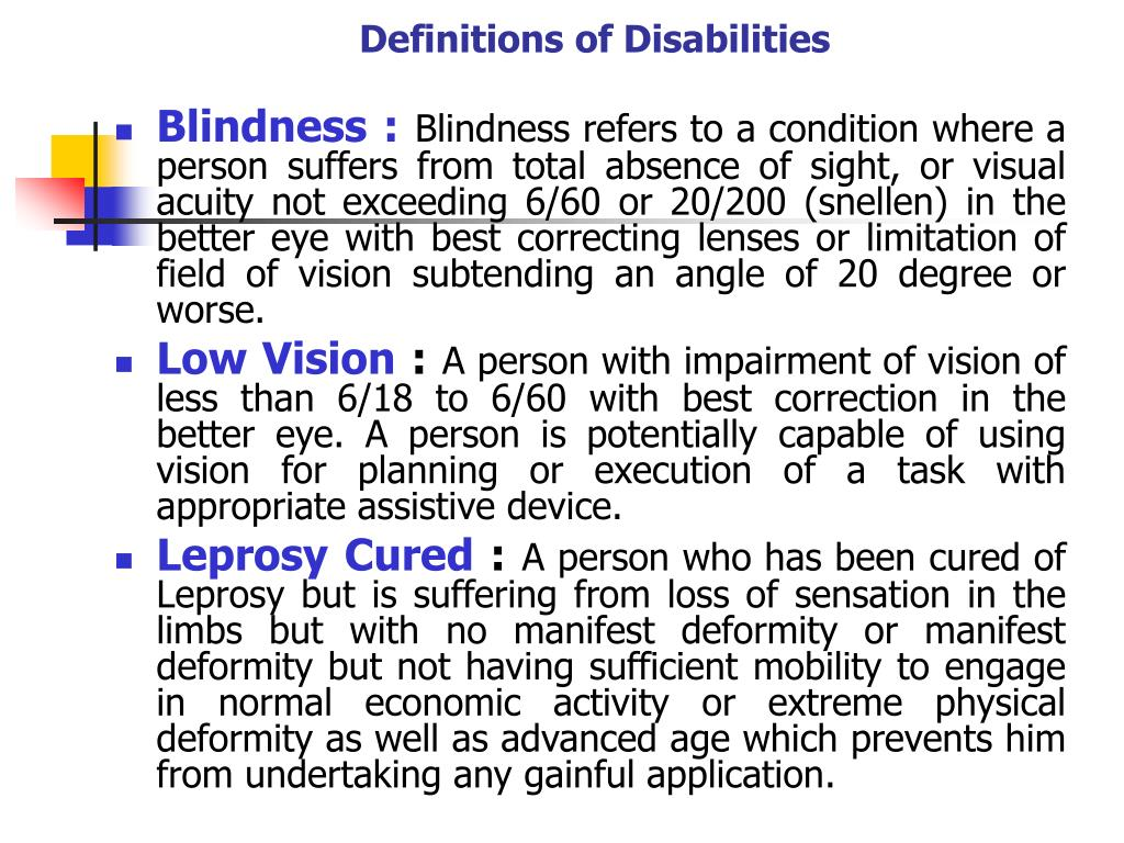 Definitions of Disabilities