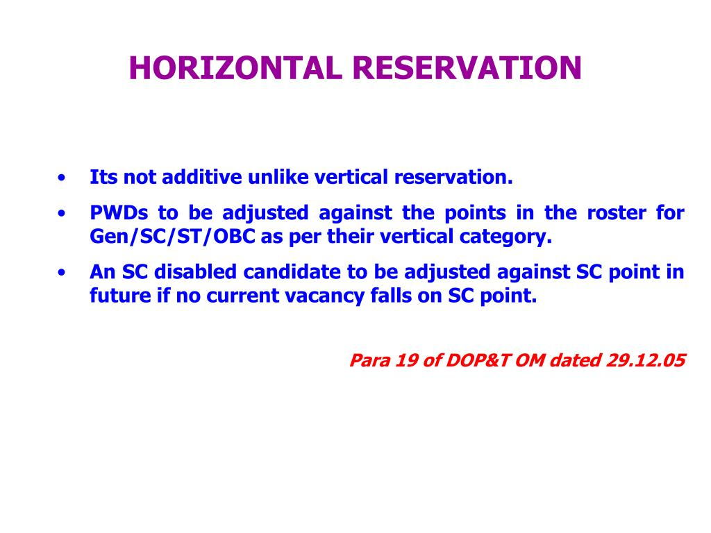 HORIZONTAL RESERVATION