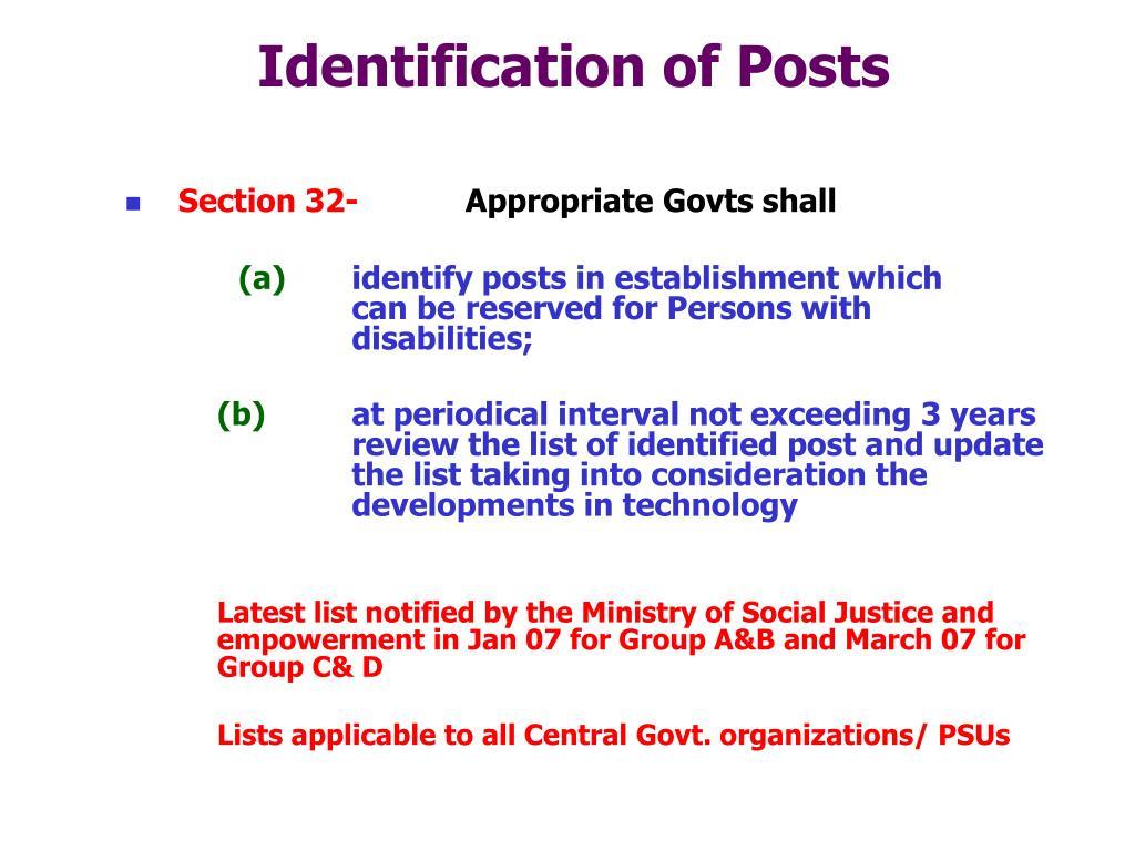 Identification of Posts