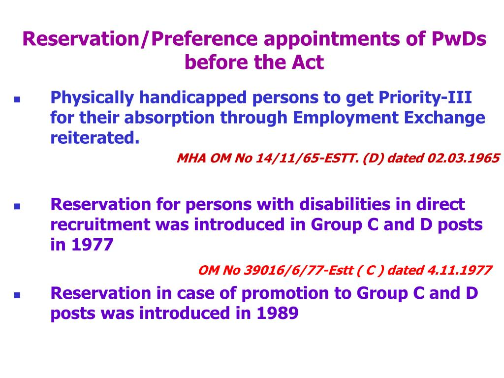 Reservation/Preference appointments of PwDs before the Act