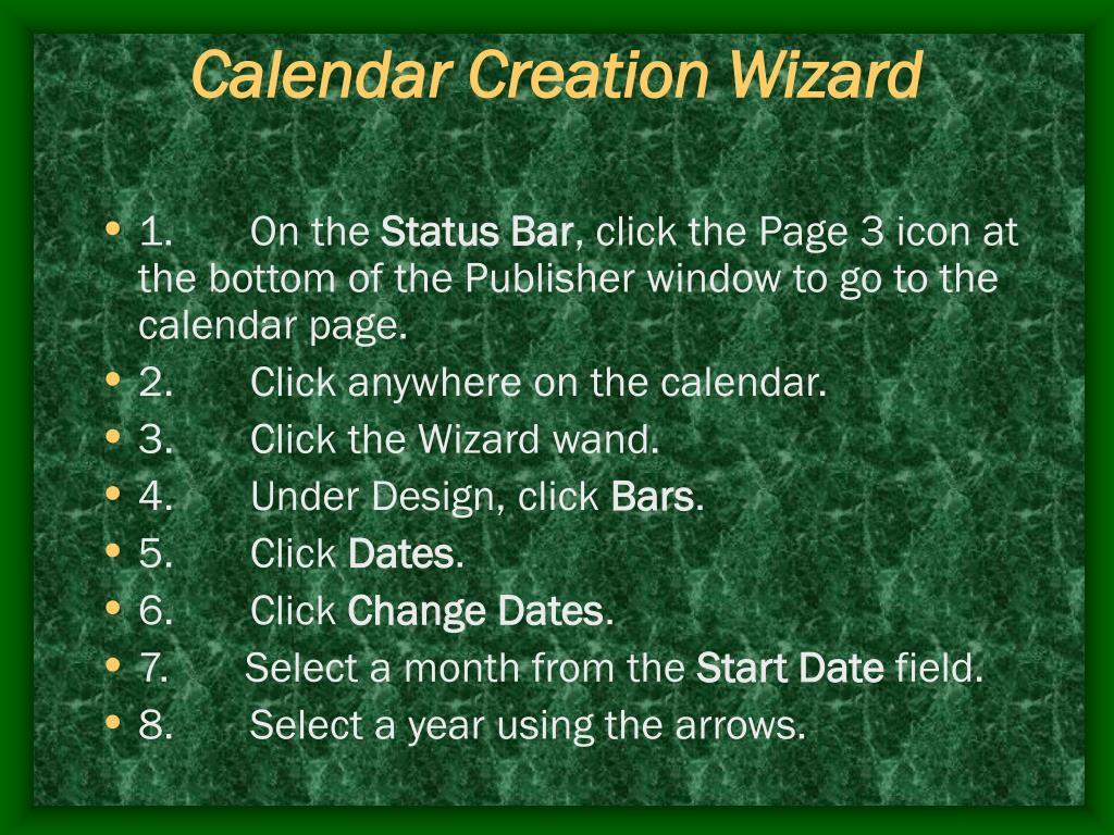 Calendar Creation Wizard