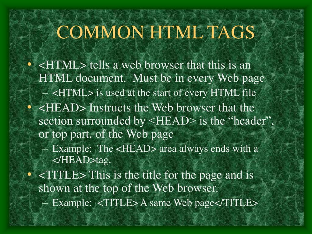 COMMON HTML TAGS