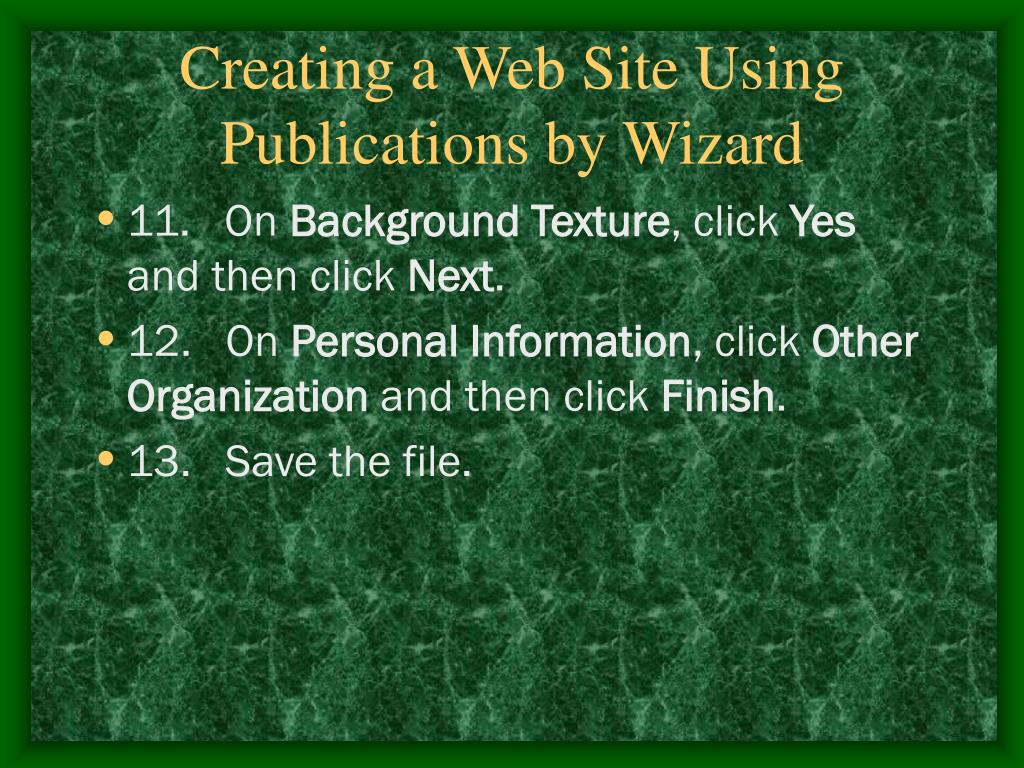 Creating a Web Site Using Publications by Wizard