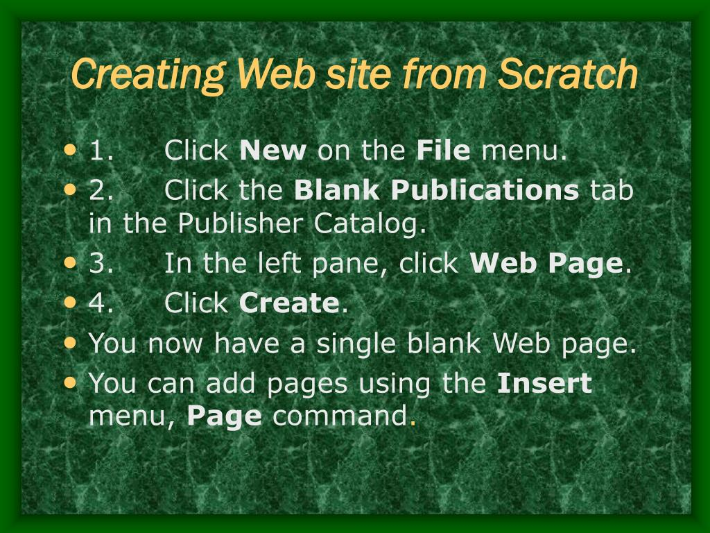 Creating Web site from Scratch