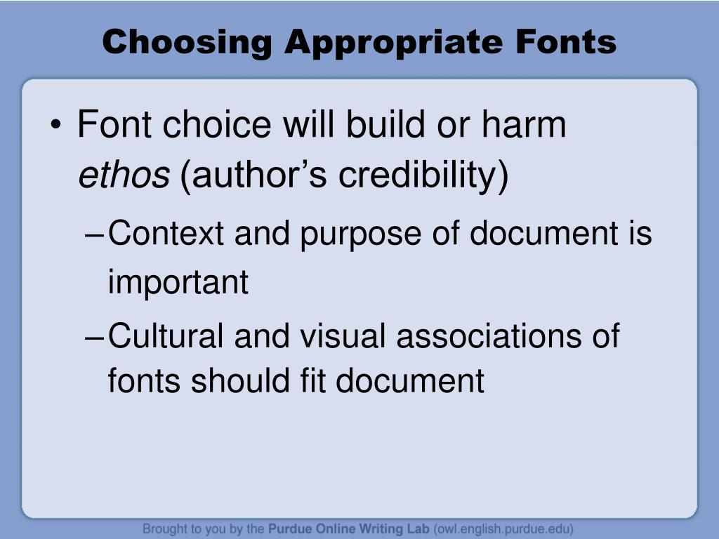 Choosing Appropriate Fonts