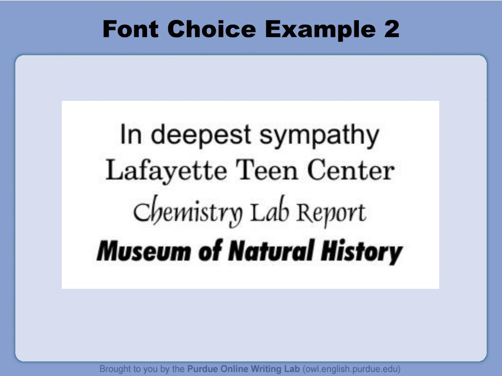 Font Choice Example 2