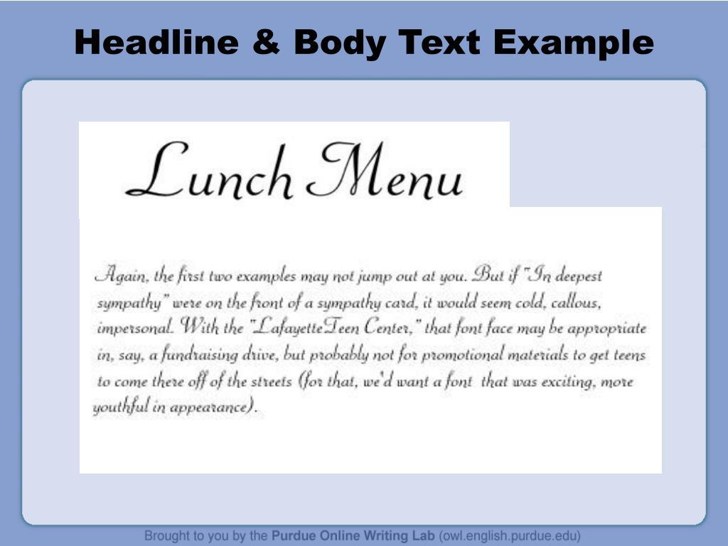 Headline & Body Text Example