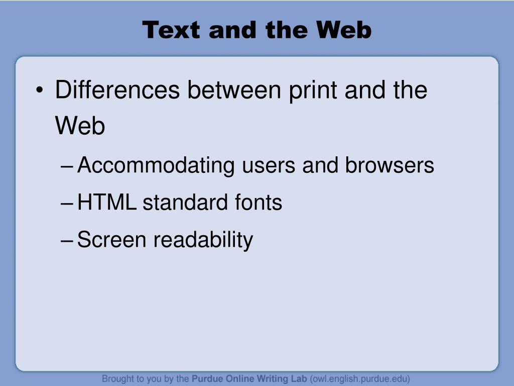 Text and the Web