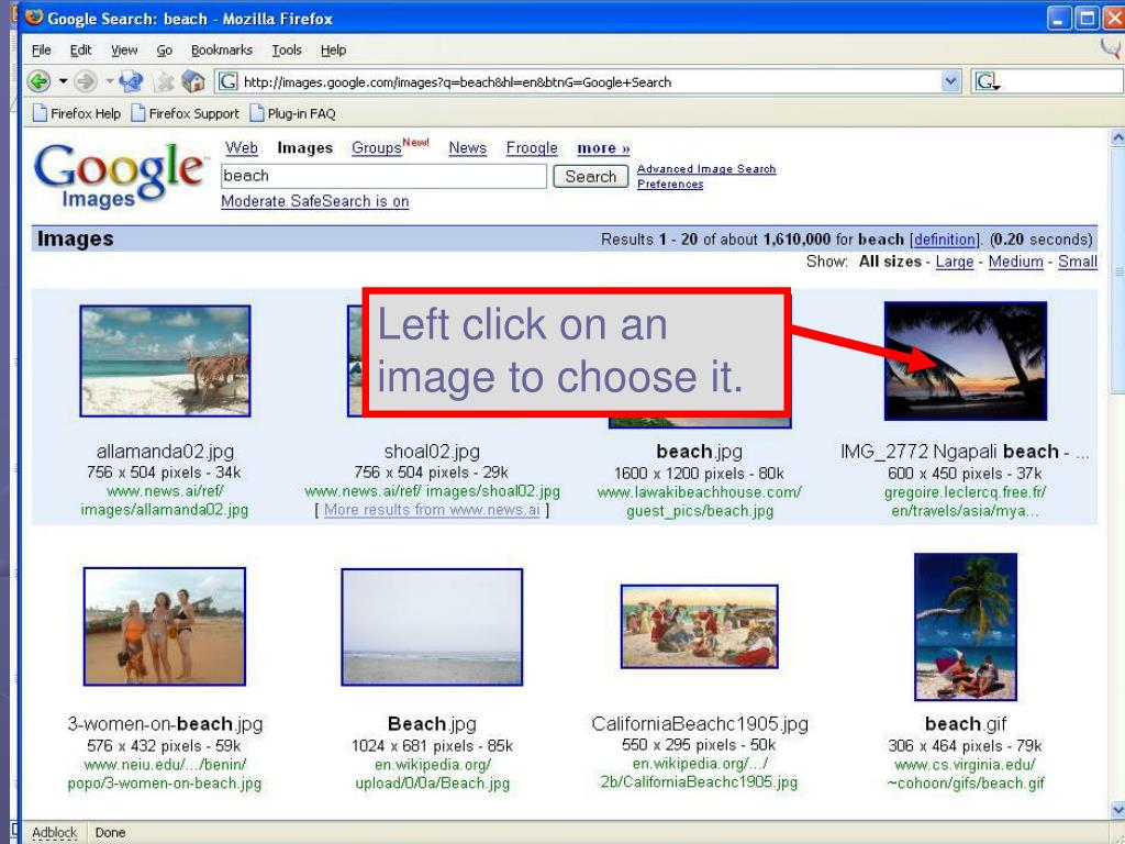 Left click on an image to choose it.
