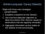 article s proposal canary detector