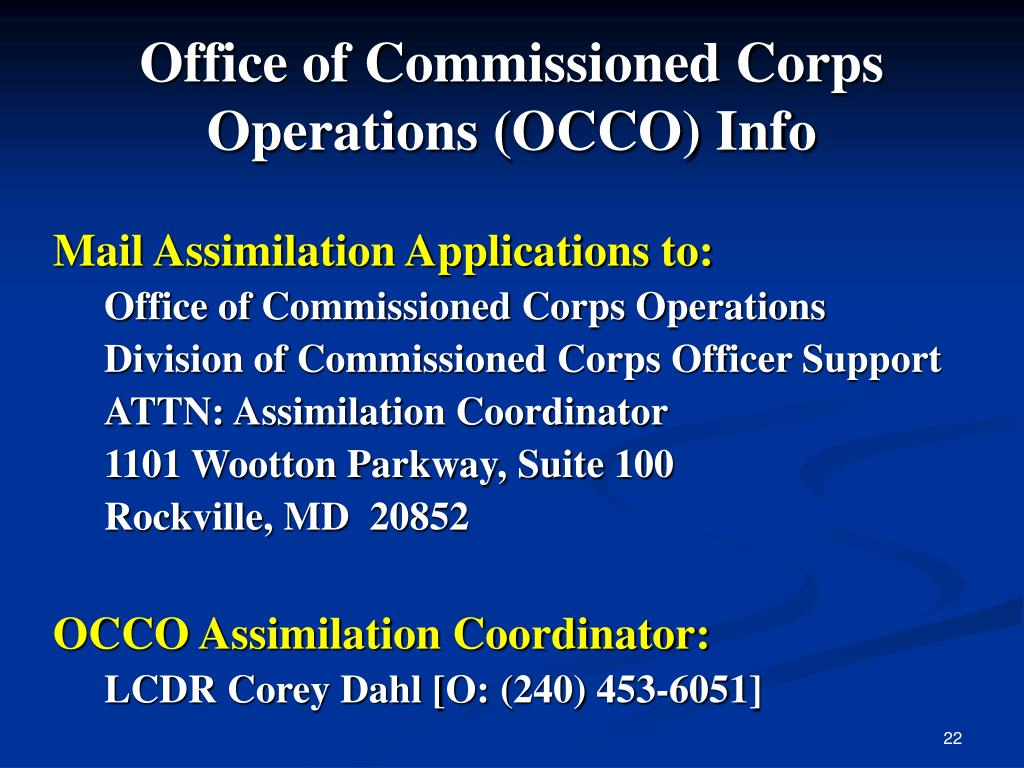 Office of Commissioned Corps Operations (OCCO) Info