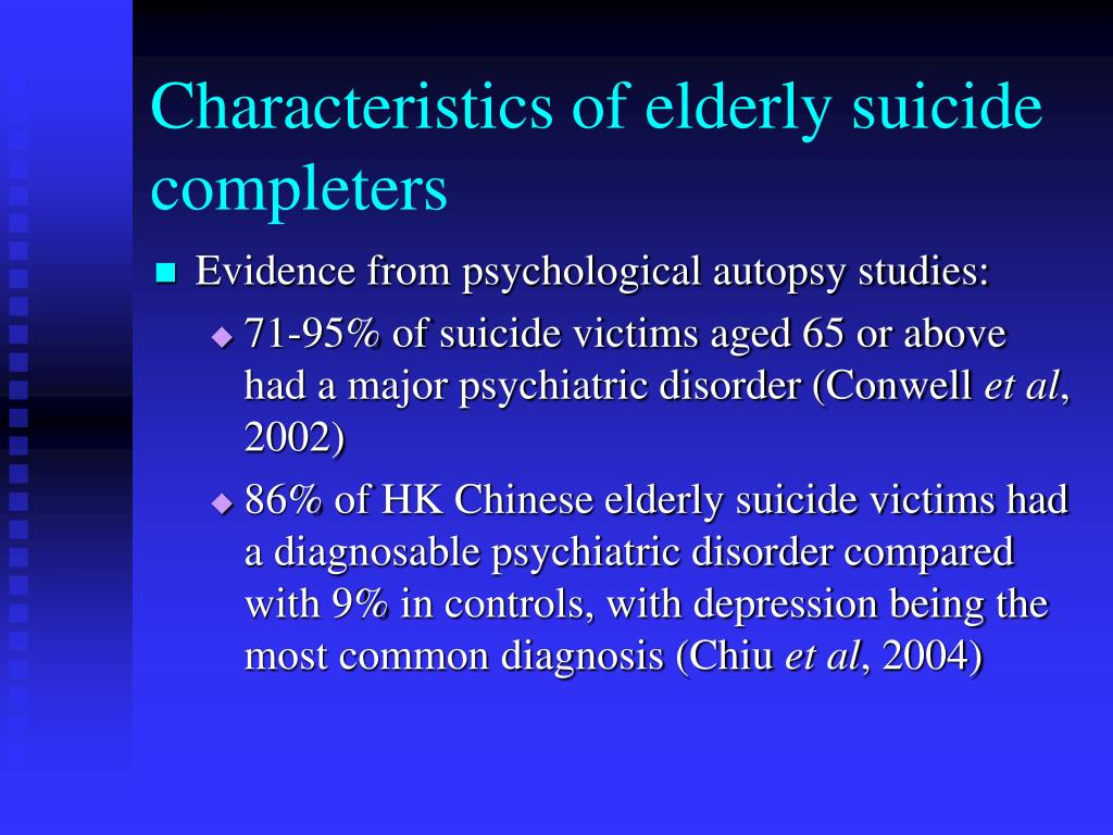 Characteristics of elderly suicide completers