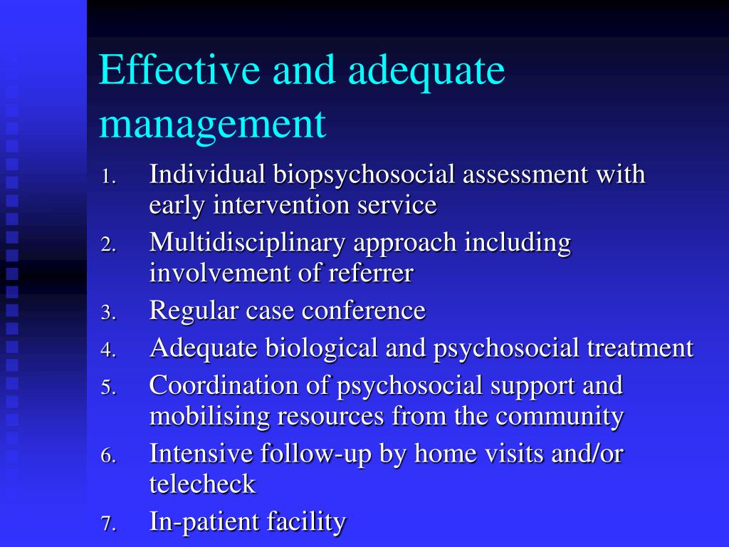 Effective and adequate management