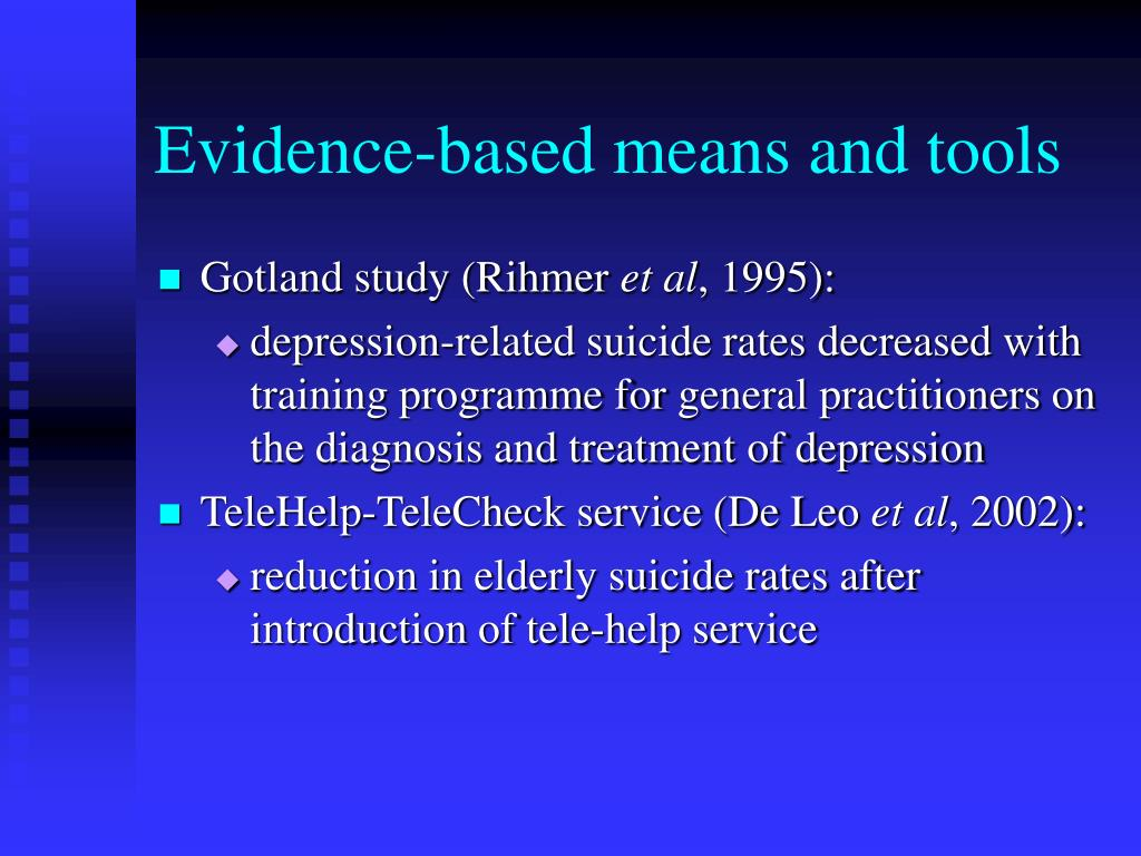 Evidence-based means and tools