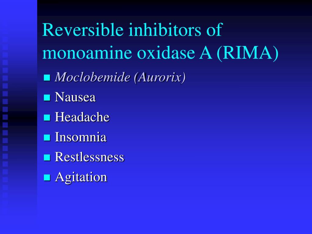 Reversible inhibitors of monoamine oxidase A (RIMA)