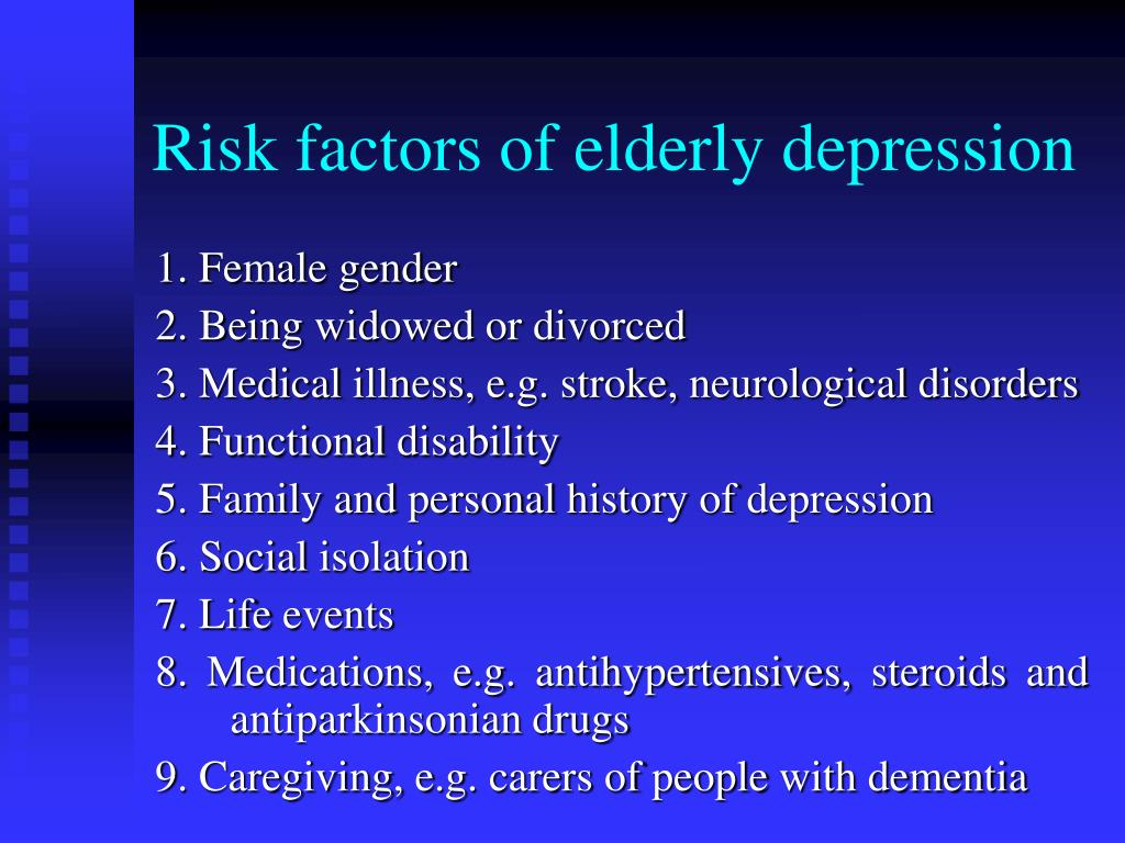 Risk factors of elderly depression