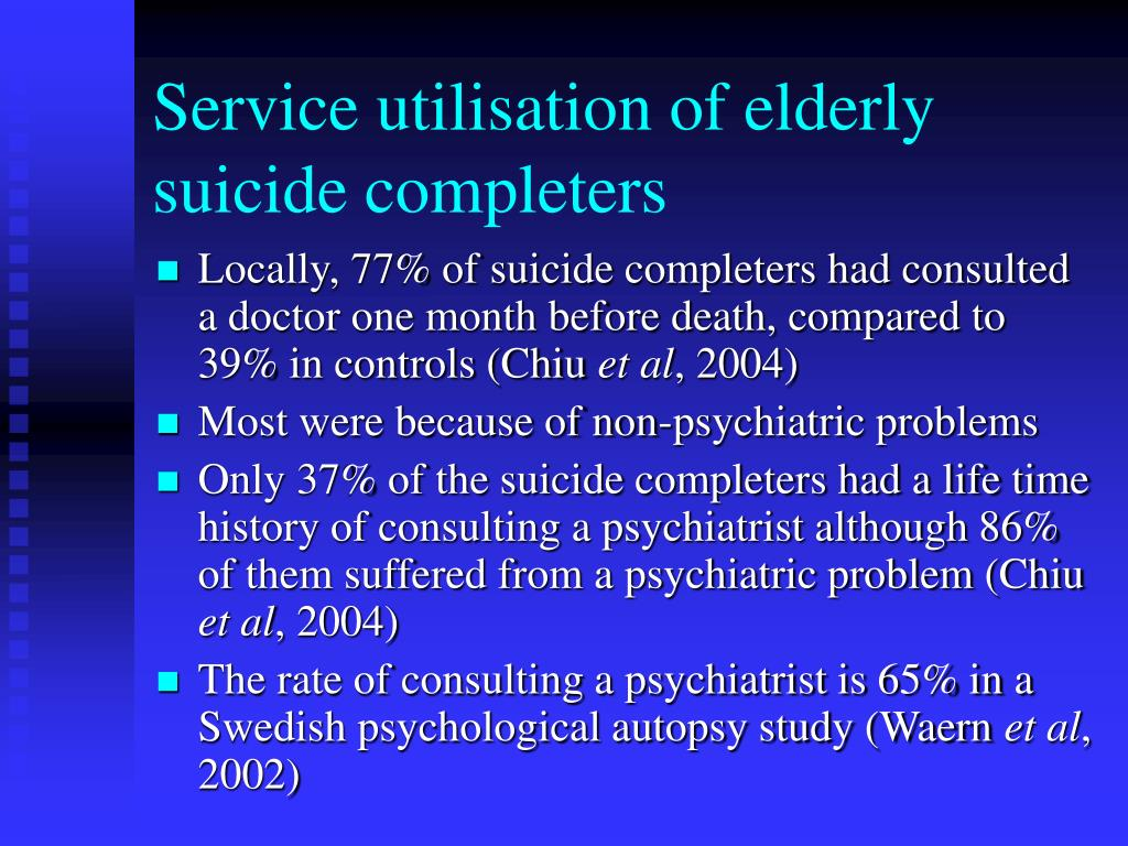 Service utilisation of elderly suicide completers