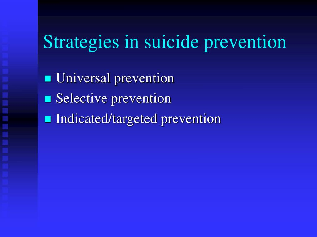 Strategies in suicide prevention