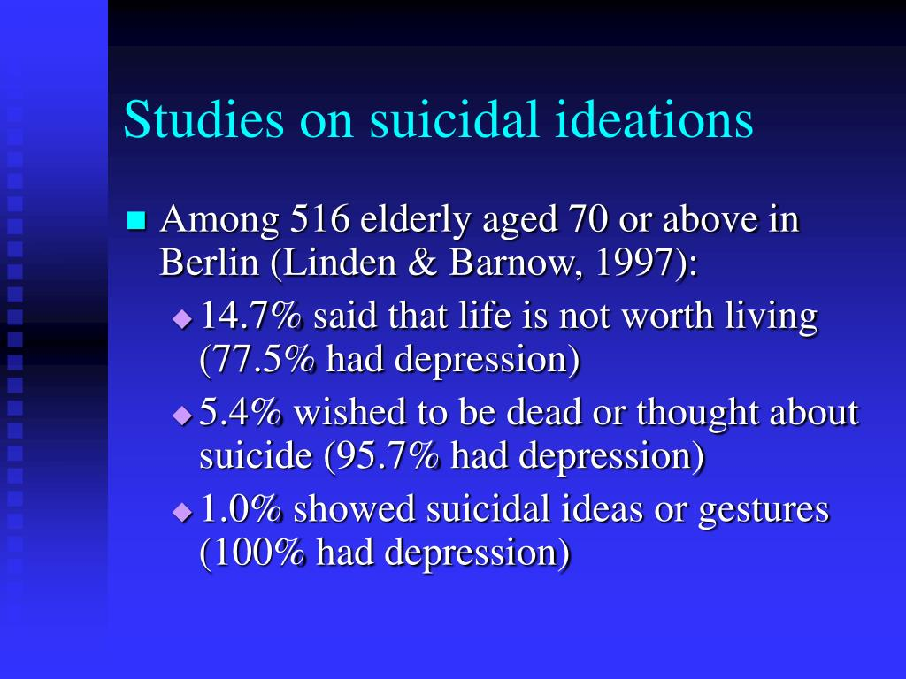 Studies on suicidal ideations